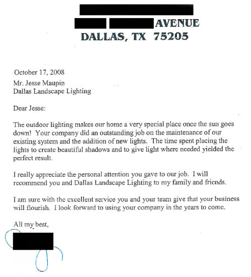 Dallas Landscape Lighting Review Customer Letter