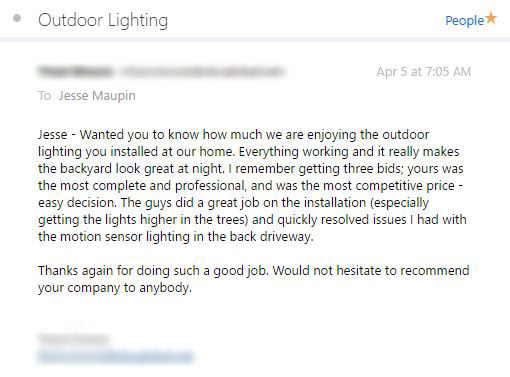 Dallas Landscape Lighting customer review April 2017