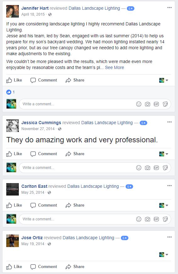 Dallas Landscape Lighting reviews on facebook