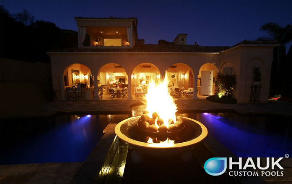 Outdoor Lighting Fire Bowl Wired By Dallas Landscape Pool Hauk Custom Pools