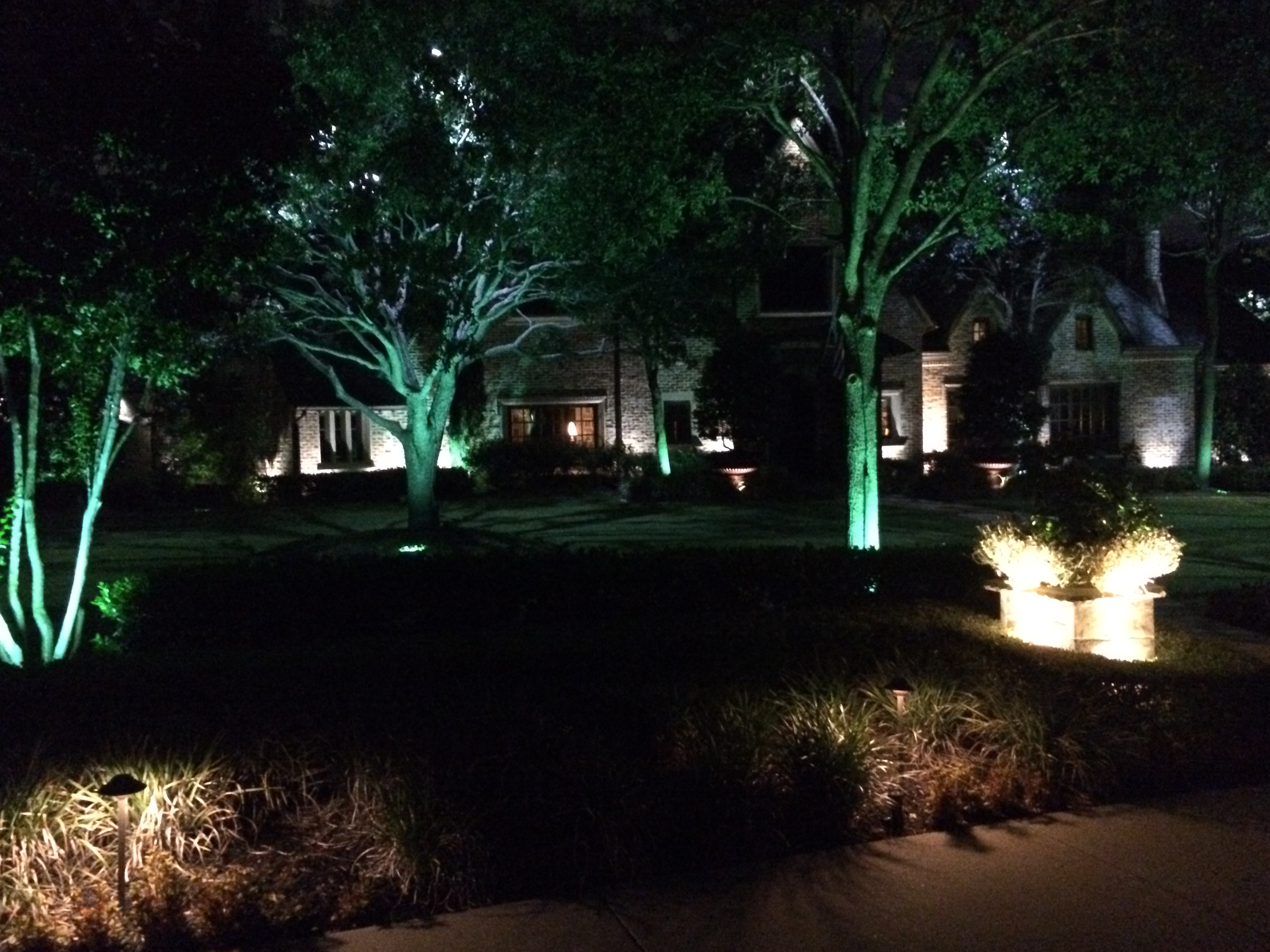 Tree Uplighting Entry Lights And Exterior Lighting Installed By Dallas Landscape